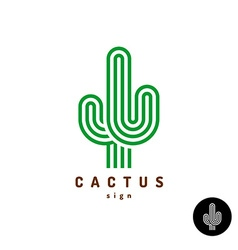 Cactus logo Parallel rounded lines style vector image vector image