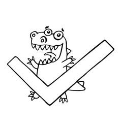 cartoon dragon and big green tick vector image vector image