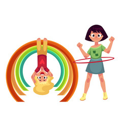 girls playing with hula hoop and hanging on monkey vector image vector image