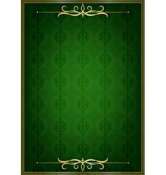 Green background and golden frame vector image vector image