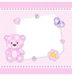 Pink teddy bear card vector image