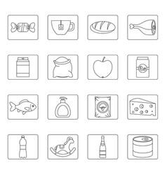 shop navigation foods icons set outline style vector image