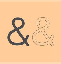 Ampersand dark grey set icon vector
