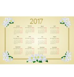Calendar 2017 with white rhododendron flowers vector image