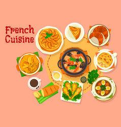 french cuisine popular national dishes icon design vector image vector image