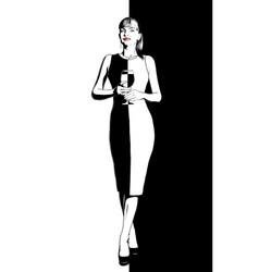 girl holding wine vector image