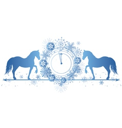 New Year border with horses and clock vector image