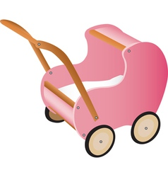 Pink wooden toy pram vector image vector image