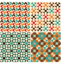 set retro seamless geometric patterns vector image vector image