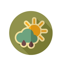Sun Rain Cloud retro flat icon Weather vector image