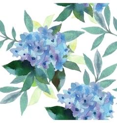 Watercolor pattern of Hydrangea flowers vector image