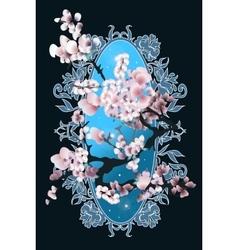 Card with blossom sakura vector image vector image