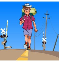 cartoon man with a backpack walking along the road vector image vector image