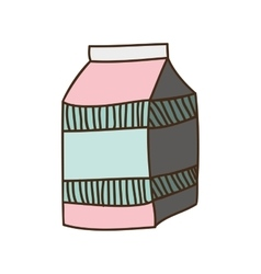 colorful silhouette with milk carton vector image vector image