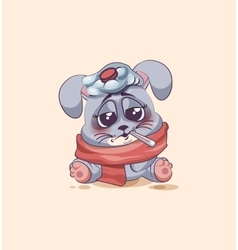 isolated Emoji character cartoon Gray leveret sick vector image