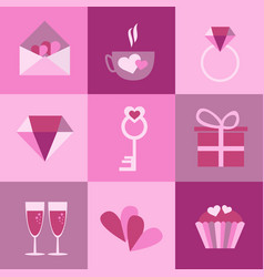 set of icons for valentines day mothers day vector image vector image