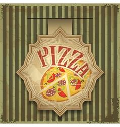 vintage card menu - pizza label vector image vector image