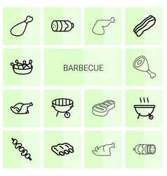 14 barbecue icons vector