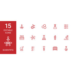 15 scientific icons vector image
