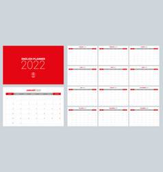 2022 calendar planner set for template corporate vector