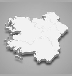 3d isometric map connacht is a province vector