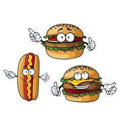 appetizing hamburgers and hot dog cartoon vector image