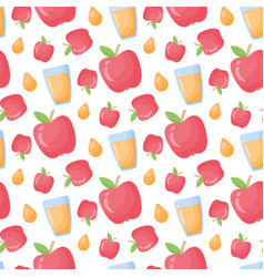 apple juice flat style seamless pattern vector image