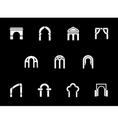 Architectural arches white glyph icons vector