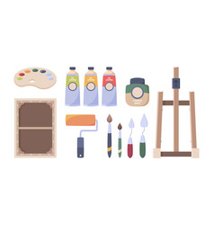 artist tools paints brushes oil tubes palette vector image