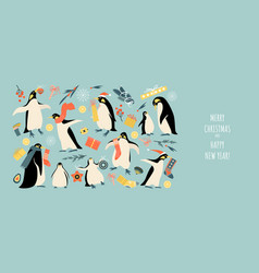 banner for christmas and new year with penguins vector image