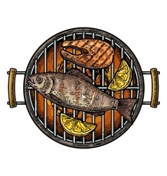 Barbecue grill top view with charcoal fish steak vector image