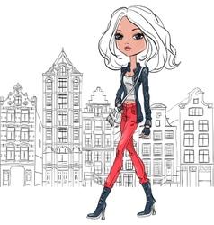Beautiful fashion girl in Amsterdam vector