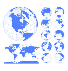 blue earth globes set and world map vector image