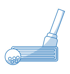 blue shading silhouette cartoon closeup golf club vector image