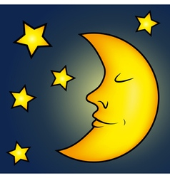 Bright moon and stars vector image