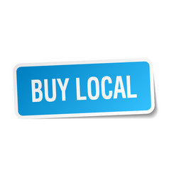 Buy local blue square sticker isolated on white vector