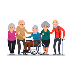 Cartoon old people happy aged citizens disabled vector