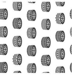 cartoon silhouette tire or wheel seamless pattern vector image