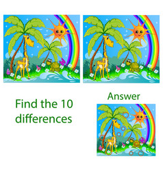 Children visual puzzle shows ten differences vector