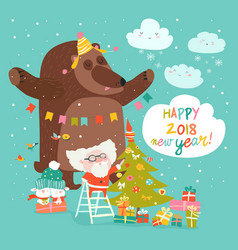 christmas card with santa claus and bear vector image