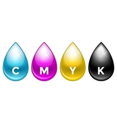 Cmyk drops isolated on white background vector