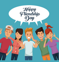 colorful card of happy friendship day with group vector image