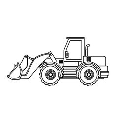 Construction vehicle backhoe in black and white vector