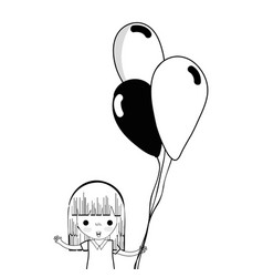 contour cute girl with balloons in the hand vector image