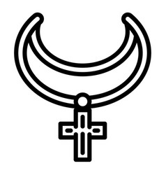 cross necklace icon outline style vector image