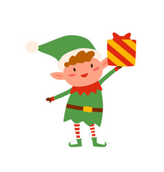 Cute christmas elf holding present decorated vector