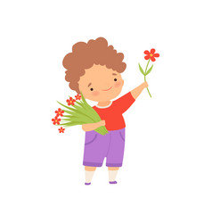 Cute happy little boy with bouquet flowers vector