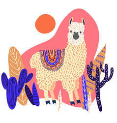 Cute llama with leaves and cactuses template for vector