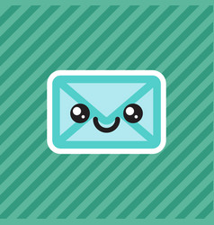 cute smiling kawaii cartoon mail envelope icon vector image