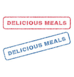 Delicious meals textile stamps vector
